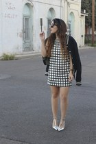 navy varsity H&M jacket - silver Zara shoes - white grid print Forever 21 dress