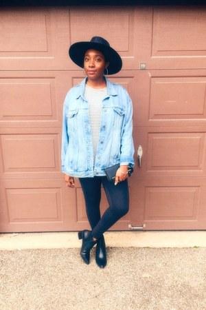 black wide brim hat Forever 21 hat - black ankle boots Zara shoes