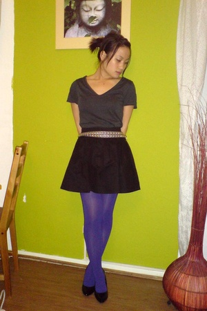 H&M shirt - H&M skirt - H&M - American Apparel tights - belt