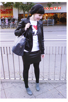 vintage purse - H&M hat - H&M shoes - gift shirt - aa skirt - Drykorn jacket