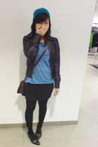 H&M hat - madonna for h&m leather jacket - vintage t-shirt - vintage purse - H&M