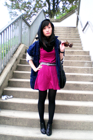American Apparel dress - jacket - belt - pieces scarf - H&M