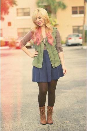 navy Charlotte Russe skirt - olive green Zara vest - tan Old Navy top