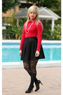 Black-romwe-tights-black-charlotte-russe-skirt-red-forever21-top