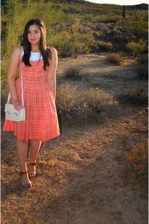 white satchel Forever 21 purse - orange printed ann taylor dress