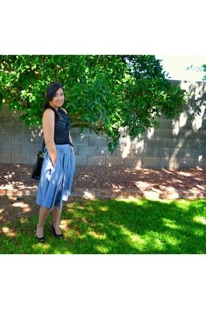 heather gray midi clothing swap skirt - black polka dot clothing swap blouse
