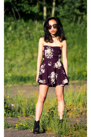 deep purple floral Forever 21 romper - black booties Charlotte Russe boots