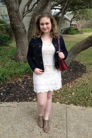 navy denim American Eagle jacket - off white crochet American Eagle dress