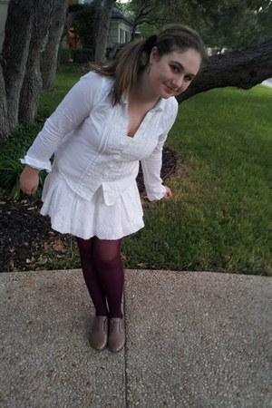 lace abercrombie and fitch shirt - maroon Aldo tights