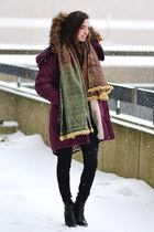 ankle boots Dolce Vita boots - maroon parka Urban Outfitters coat
