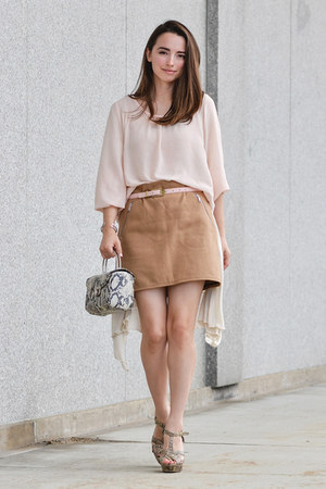 light pink thrifted asos top - camel thrifted Gap skirt
