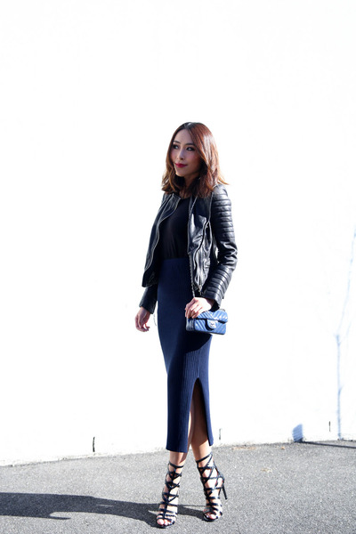 ribbed Country Road skirt - leather All Saints jacket