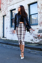 white pencil skirt Nicholas skirt - black leather jacket All Saints jacket