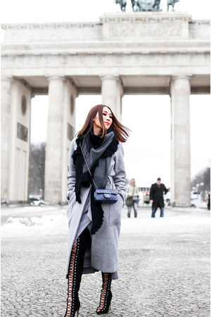 black lace up tony bianco boots - heather gray wool Manning Cartell coat
