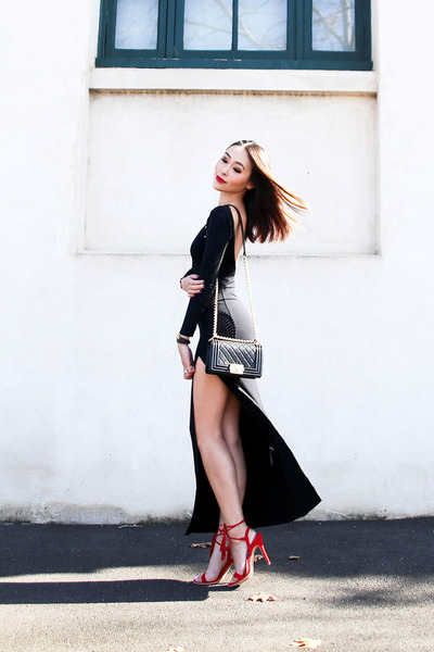 black maxi asos dress - black leather Chanel bag - red lace up Jo Mercer heels