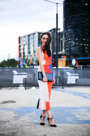 carrot orange Manning Cartell dress - black Jimmy Choo heels