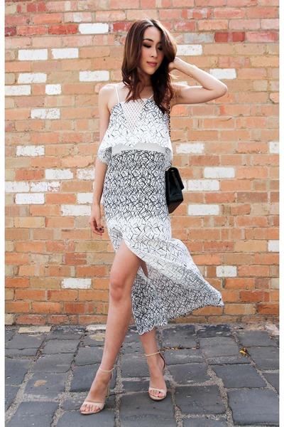 white Manning Cartell dress - black Chanel bag