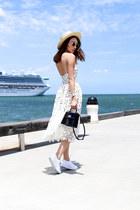 white Self Portrait dress - black Louis Vuitton bag - white kswiss sneakers