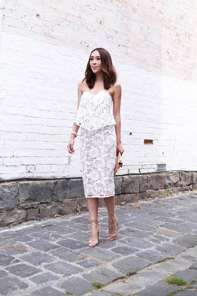 white lace Cooper St dress - nude lace up Windsor Smith heels