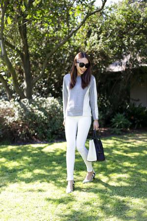 white denim Zara jeans - silver knit Saba sweater - navy luggage bag Celine bag