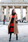 Camel-wool-mackage-coat-red-knitted-rag-bone-sweater