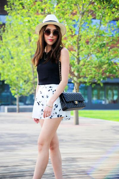White Saks Fifth Avenue Hat Black Chanel Bag