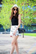 white Saks Fifth avenue hat - black Chanel bag