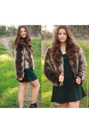 black Forever 21 boots - forest green Forever 21 dress