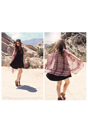 burnt orange H&M boots - black brandy melville dress - black H&M hat
