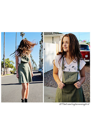 black boots boots - olive green Forever 21 romper - white brandy melville top