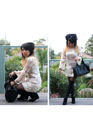 beige custom made dress - black custom made boots - black custom made purse - bl