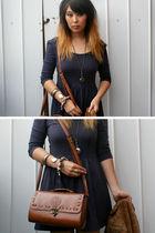 blue dress - brown vintage purse - brown vintage jacket - silver portebello mark