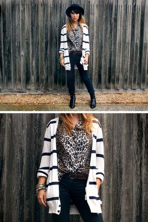 black Wrangler jeans - white Wrangler cardigan - brown vintage blouse - brown ba
