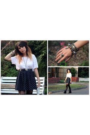 blue vintage skirt - white vintage blouse - black Topshop stockings - black cust