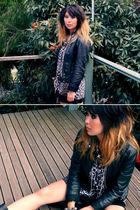 black vintage jacket - brown vintage shirt - black vintage dress - silver Mimco