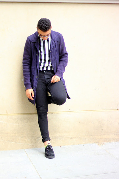 neon green H&M socks - platforms Underground shoes - navy Marni coat