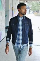Armani Jeans jacket - light blue to boot new york boots - navy vince shirt