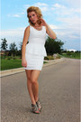 White-charlotte-russe-dress-silver-aersoles-wedges