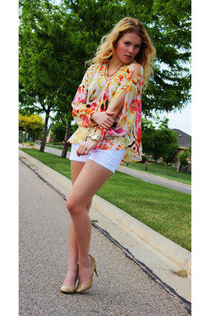 orange Jennifer Lopez blouse - gold Shoedazzle watch