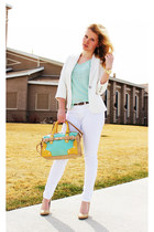 aquamarine bowler melie bianco bag - white Forever 21 blazer
