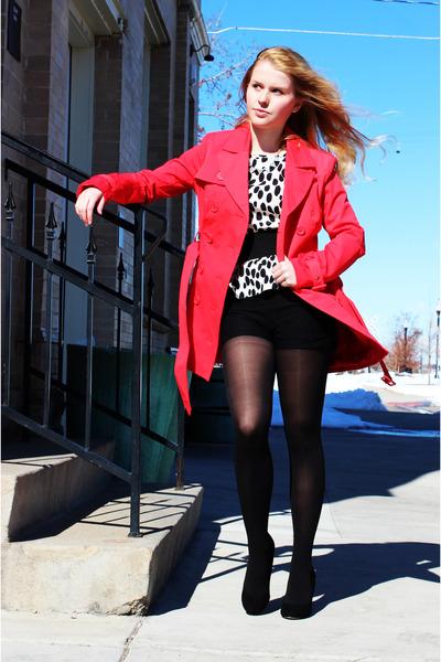 hot pink Bebe coat - black Steve Madden heels - white H&M top