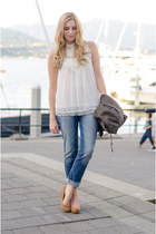 sky blue boyfriend jeans Bootlegger jeans