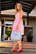 light blue bow material girl purse - hot pink floral dress J Crew dress
