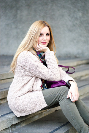 beige material girl sweater - tan ankle boots Aldo boots - tan tartan Aldo scarf