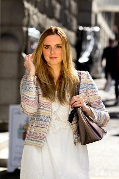 white white dress Temperance Collection dress - light pink blazer RW&CO blazer
