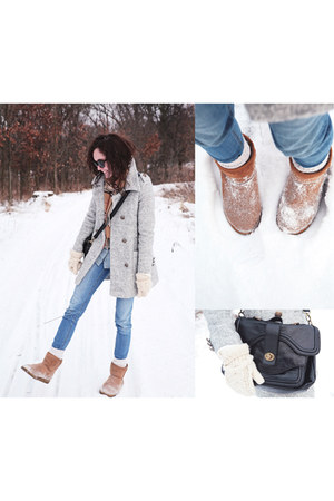 Emu boots - PERSUNMALL coat - H&M jeans - leather Urban Outfitters bag
