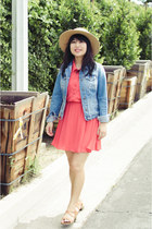 tan Forever 21 hat - coral H&M dress - sky blue denim Target jacket