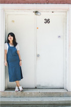 white crop Forever 21 shirt - blue denim Daisy Street dress