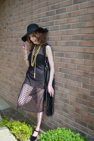 vintage from etsycom dress - asos hat - Designer Debbie Leather bag