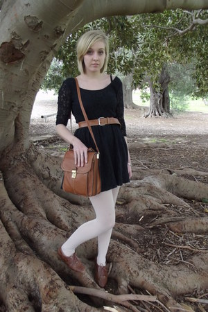 tawny vintage bag - black lace cotton on dress - tawny Big W loafers